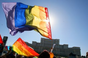 Participanti la Parada Gay Fest defileaza, sambata, 23 mai 2009, in Bucuresti, pe bulevardul Unirii.